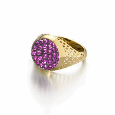 Crownwork small signet ring with pave pink sapphires set in oxidized silver.