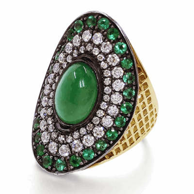 18k yellow gold crownwork regency ring with cabochon emerald and pave emeralds and pave diamond surround set in oxidized sterling silver.  Emerald: 2.76cts Pave Emeralds: 1.4cts DIA: 0.76cts