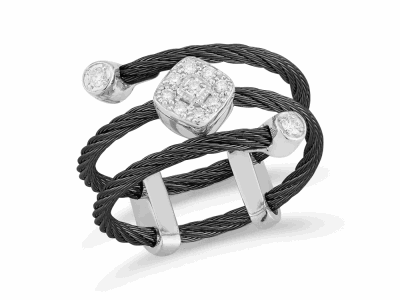 Black cable, 18 karat White Gold, 0.12 total carat weight Diamonds and stainless steel. Imported.