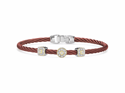 Burgundy cable 3mm, 18 karat White Gold and Yellow Gold, 0.14 total carat weight Diamonds and stainless steel. Imported.