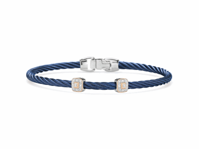 Blueberry cable 3mm, 18 karat White Gold and Rose Gold, 0.09 total carat weight Diamonds and stainless steel. Imported.