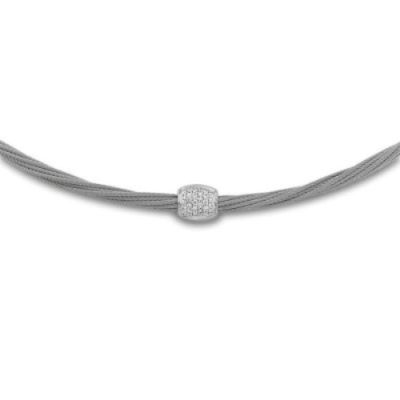 Silver cable, 18kt. White Gold, 0.21 total carat weight. Diamonds and stainless steel. Imported