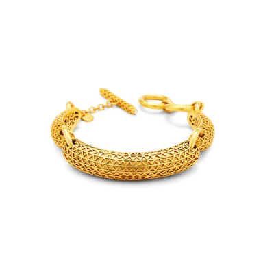 Richly detailed three part bracelet that fits comfortable like a cuff.  7.5-8 inches. 24K gold plate. Julie Vos hallmark.