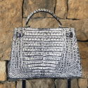 Alternate image 2 for Bleached Caiman Crocodile Handbag By Leather Consignment