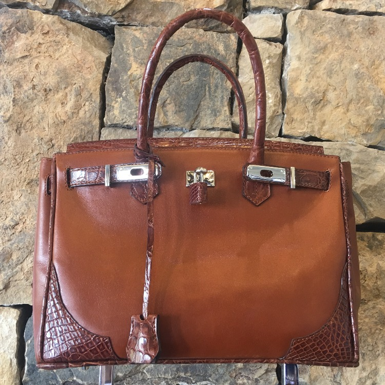 Brown Leather and Alligator Handbag - alternate