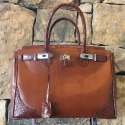 Alternate image 1 for Brown Leather And Alligator Handbag By Leather Consignment
