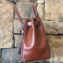 Alternate image 2 for Brown Leather And Alligator Handbag By Leather Consignment