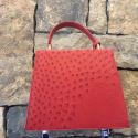 Alternate image 2 for Red Caiman Crocodile And Ostrich Handbag By Leather Consignment