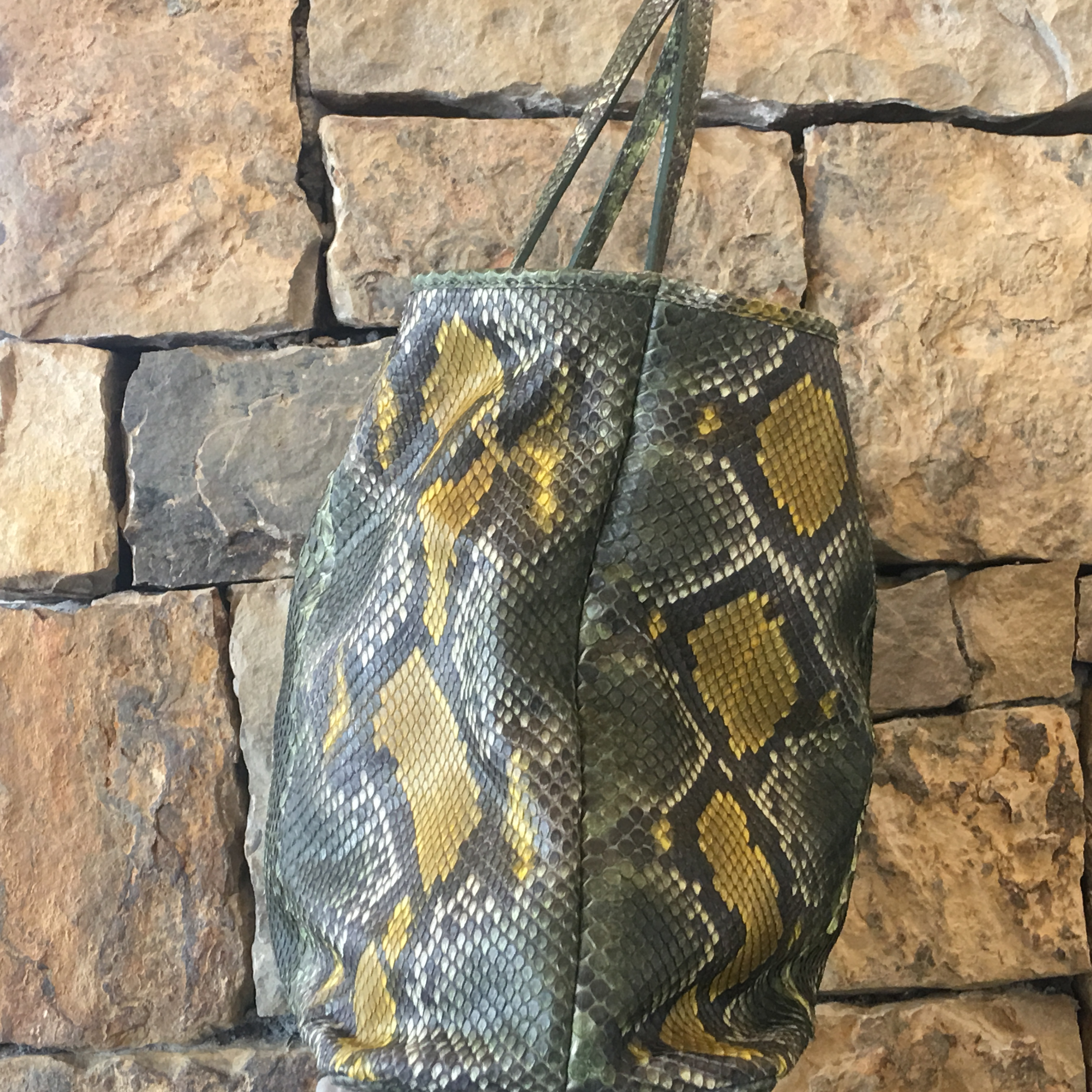 Green and Yellow Python Tote - alternate