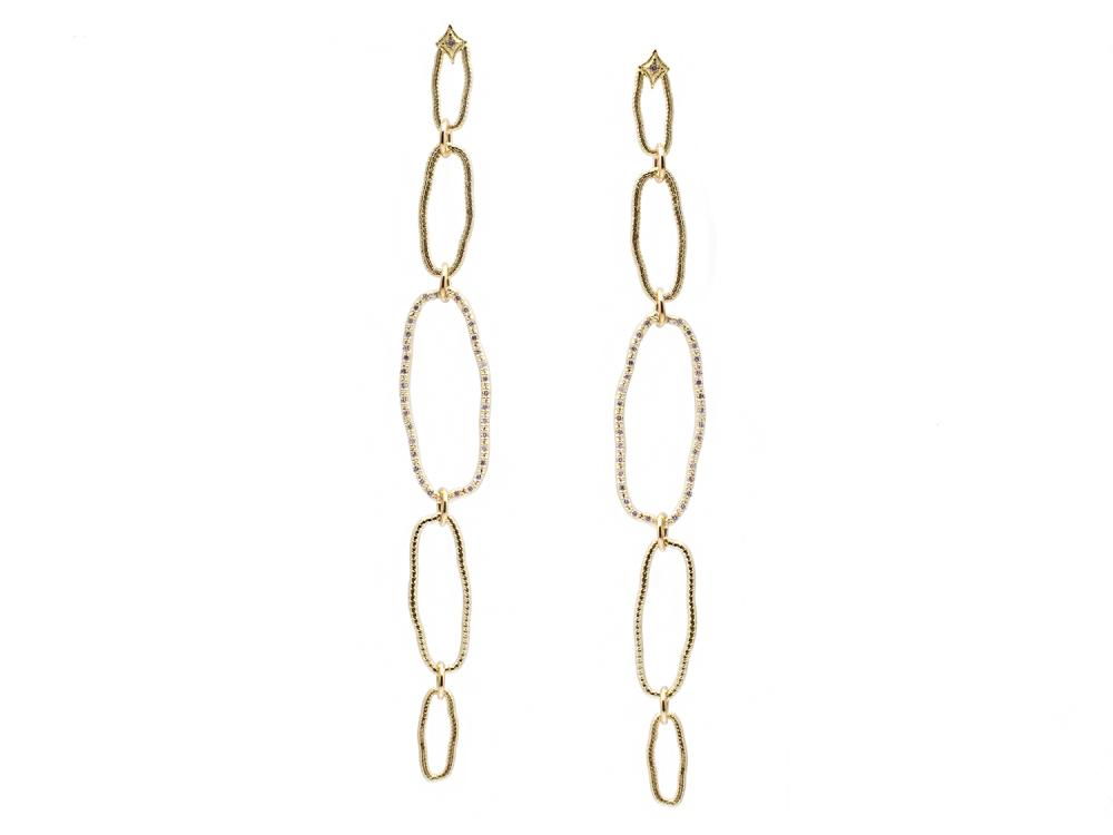 Sueno 18K Yellow Gold Oval Earring With Champagne Diamonds