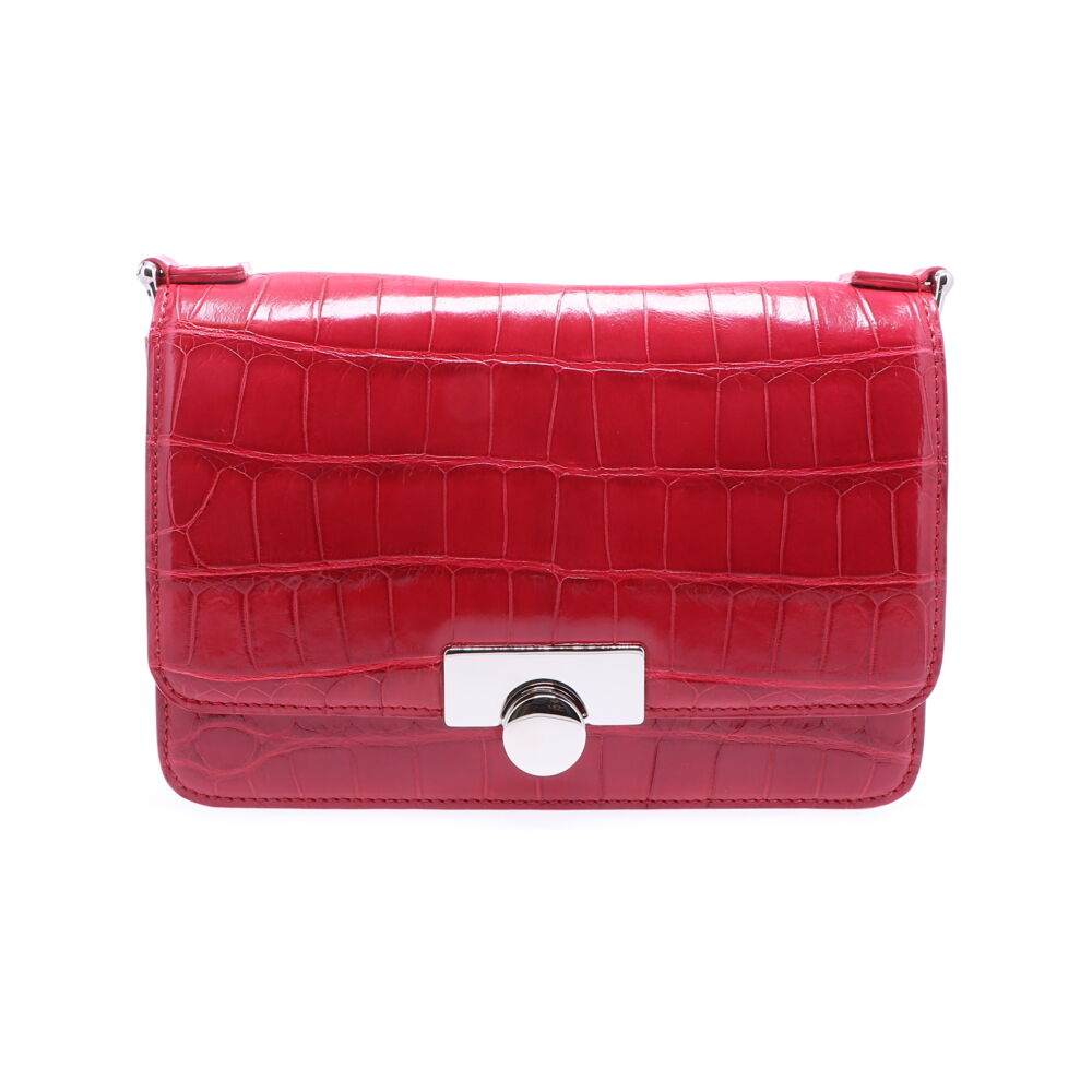 Ruby Red Alligator Chain Bag