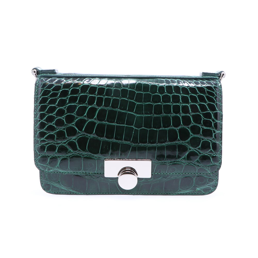 Forest Green Alligator Chain Bag