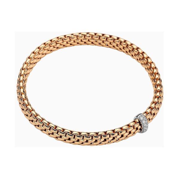 Closeup photo of 18k Gold Flex'it Bracelet in Rose Gold with Diamonds size S (16 cm)