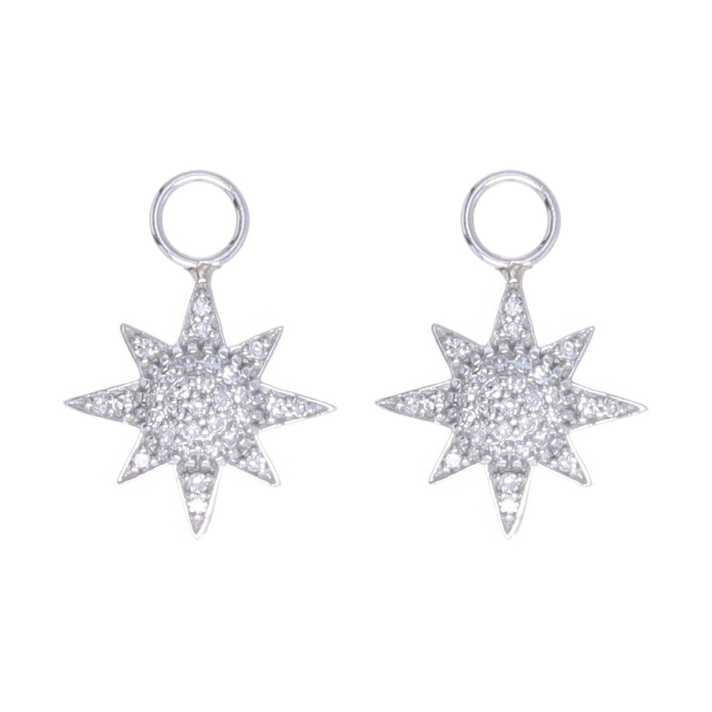 Starburst Earring Charms 14k Gold with Pave Diamonds