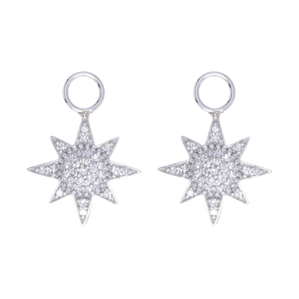 Closeup photo of Starburst Earring Charms 14k Gold with Pave Diamonds