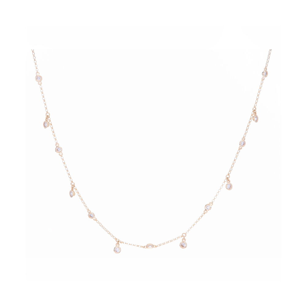 14k YG 13 DIA: 0.56tcw Dancing Diamond Necklace