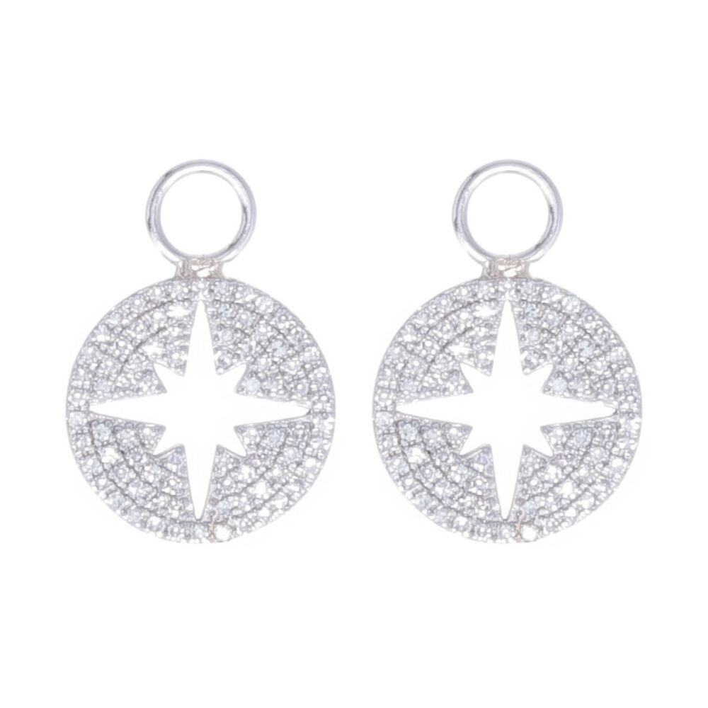 North Star Cutout Earring Charms 14k Gold with Diamonds
