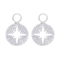 Closeup photo of 14k White Gold North Star Cut Out Earring Charms