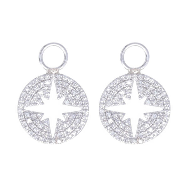 Closeup photo of North Star Cutout Earring Charms 14k Gold with Diamonds