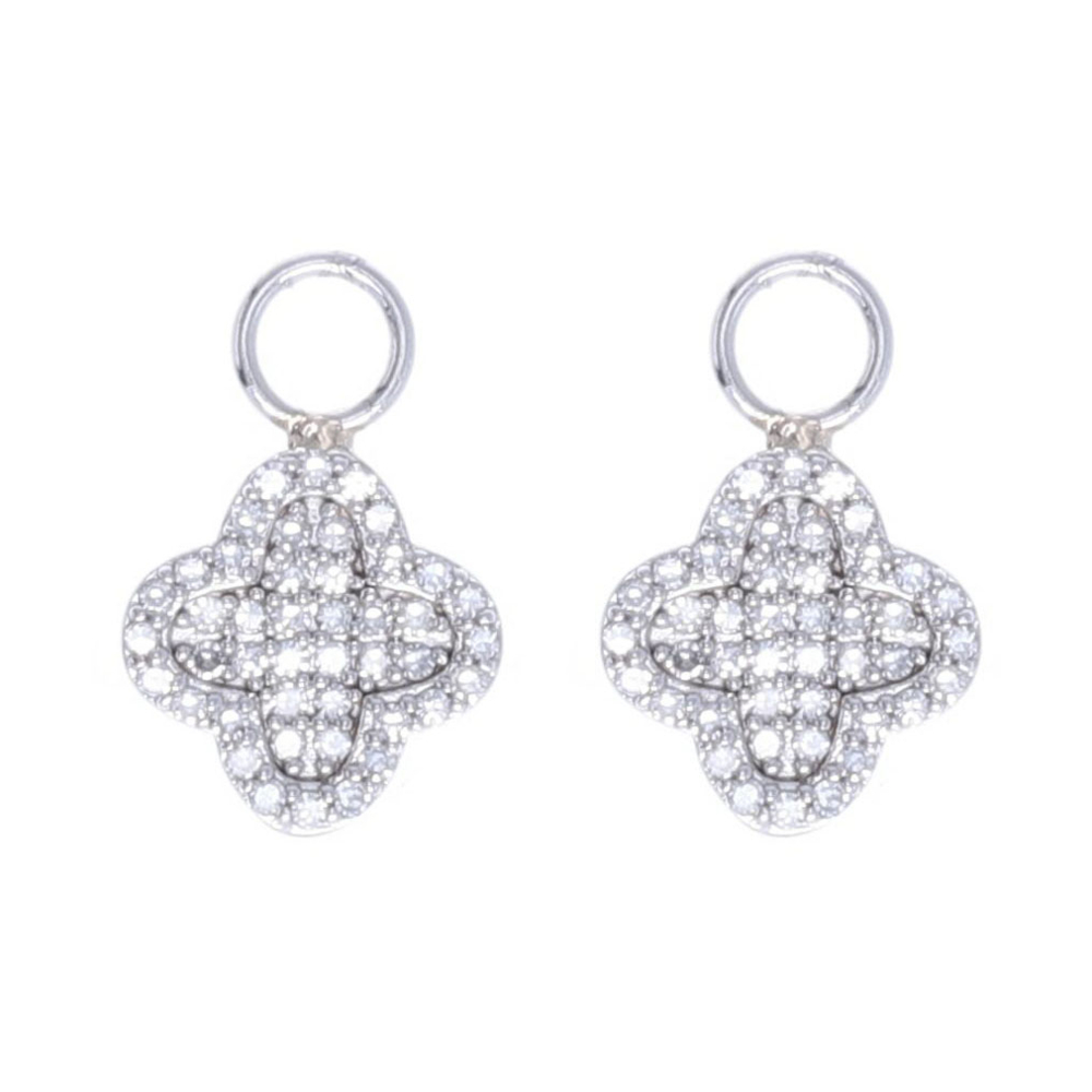 Clover Motif Earring Charms 14k Gold with Diamond