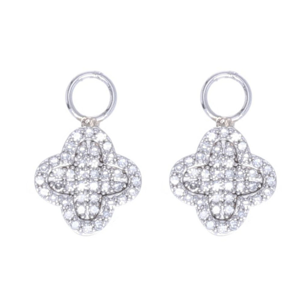 Closeup photo of Clover Motif Earring Charms 14k Gold with Diamond
