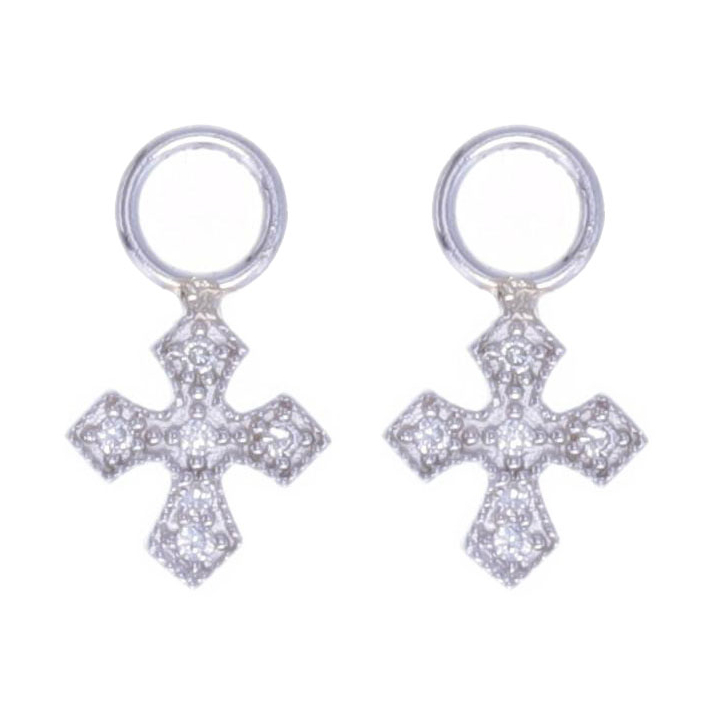 14k White Gold Tiny Cross Earring Charms