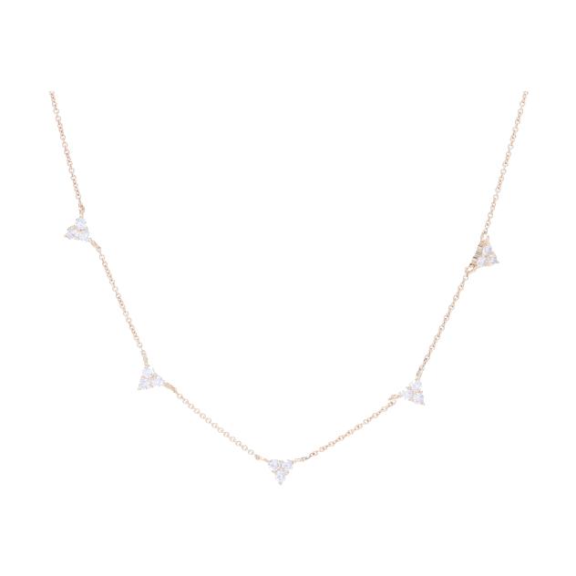 14k YG Triple Diamond 5 Station Necklace