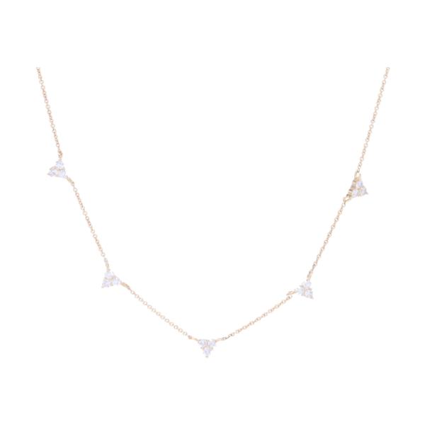 Closeup photo of 14k YG Triple Diamond 5 Station Necklace