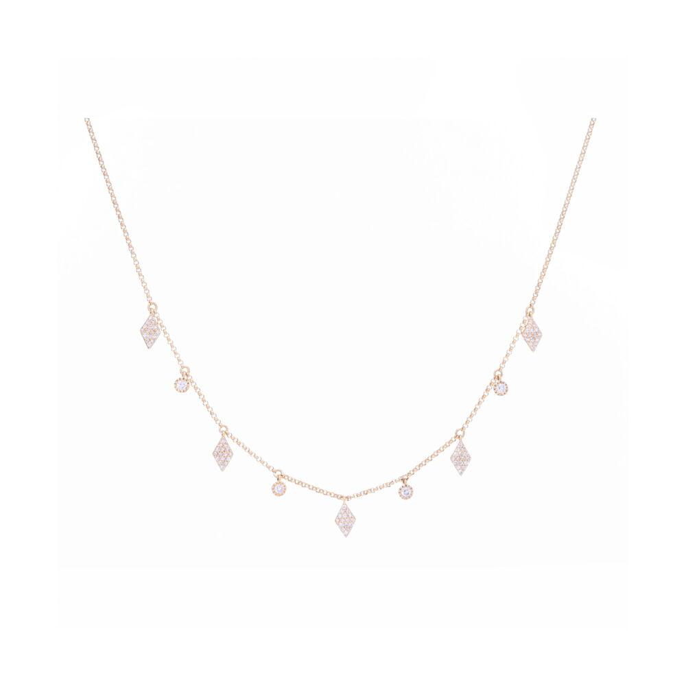 14K YG Diamond/Circle Fringe Necklace