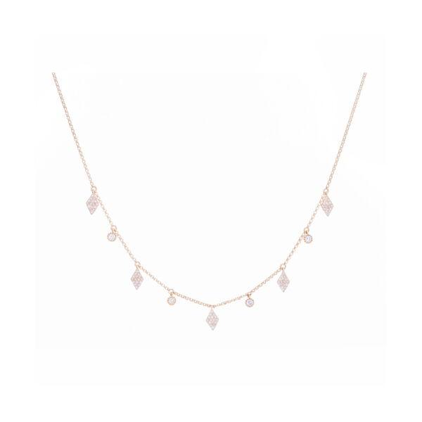 Closeup photo of Diamond/Circle Fringe Necklace 14K Gold