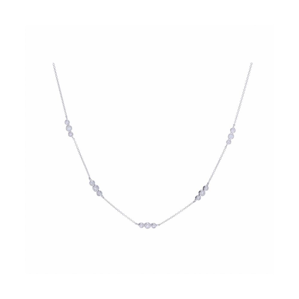14k WG 5 Station Diamond Necklace