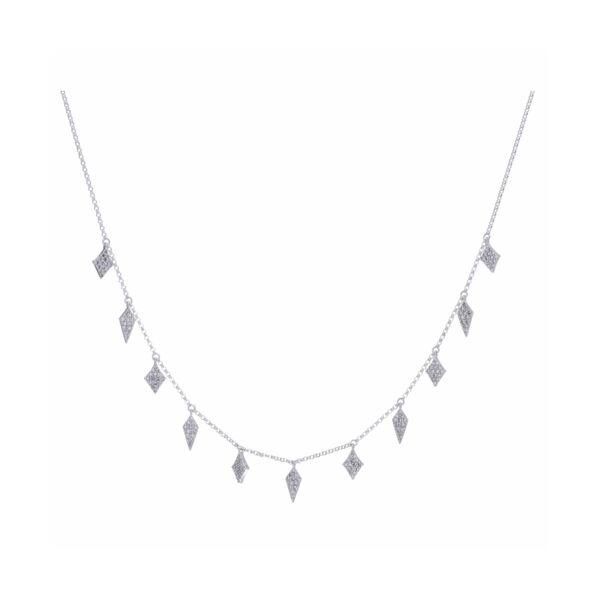 Closeup photo of Diamond Fringe Necklace 14k Gold