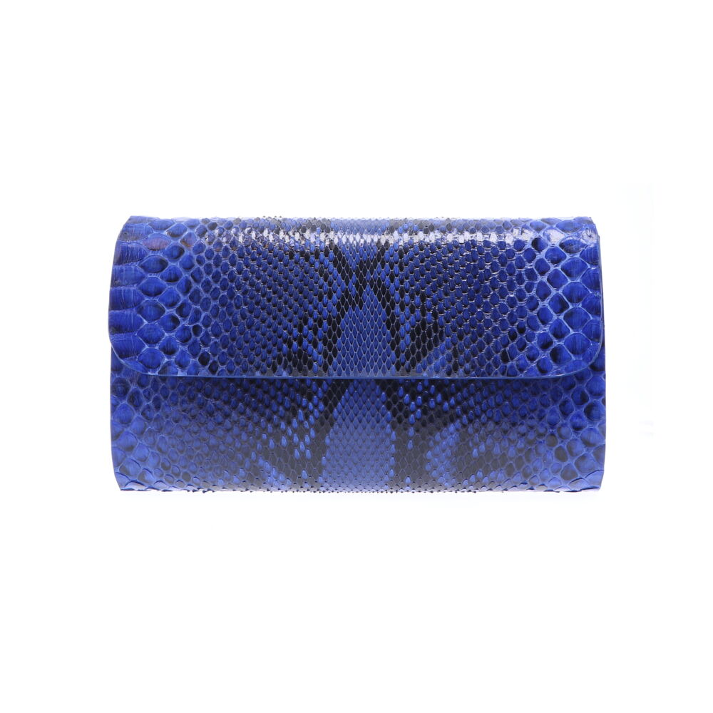 Large Electric Blue Python Clutch