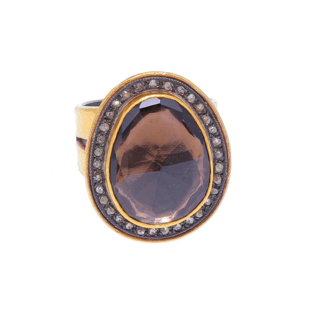Kurtulan Smoky Quartz Ring 24k Gold with Diamonds