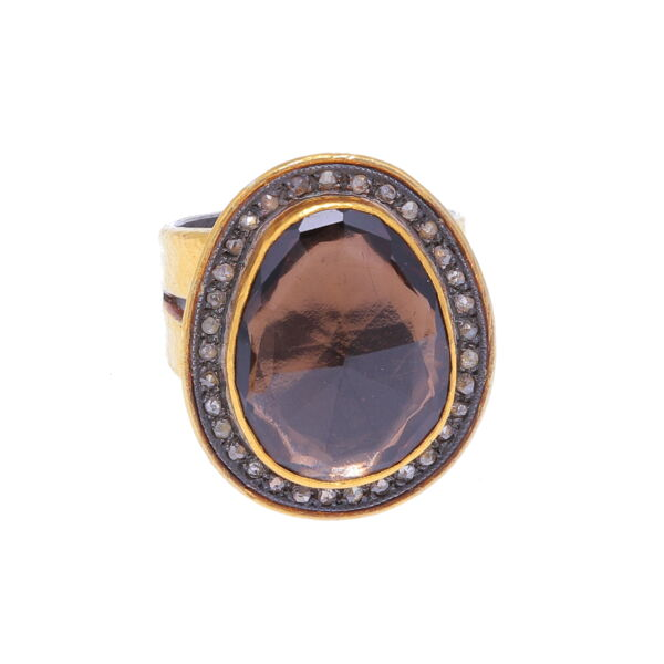Closeup photo of Kurtulan Smoky Quartz Ring 24k Gold with Diamonds