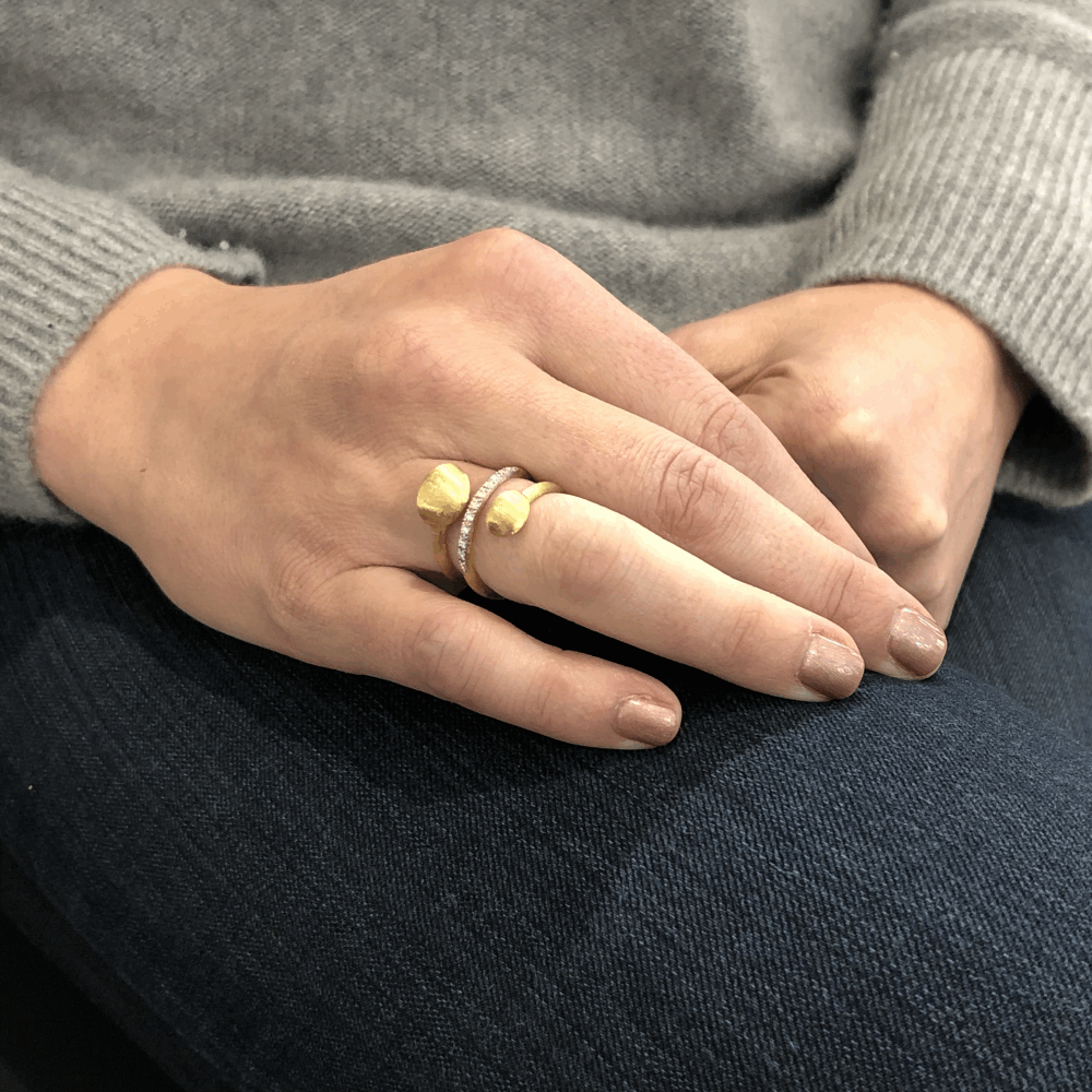 Yellow Gold Spiral Dancing Ring with Diamonds