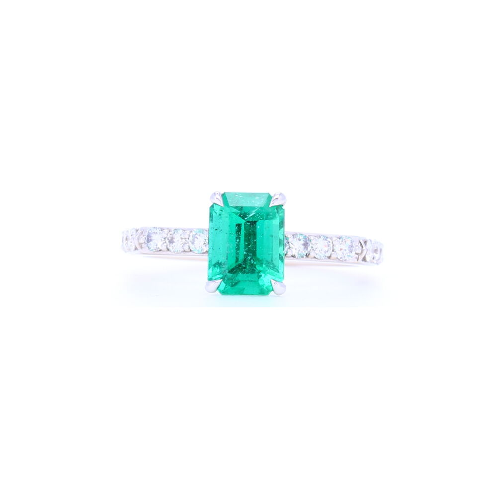18k White GoldZambian Emerald Solitaire with Pave Diamond Shank