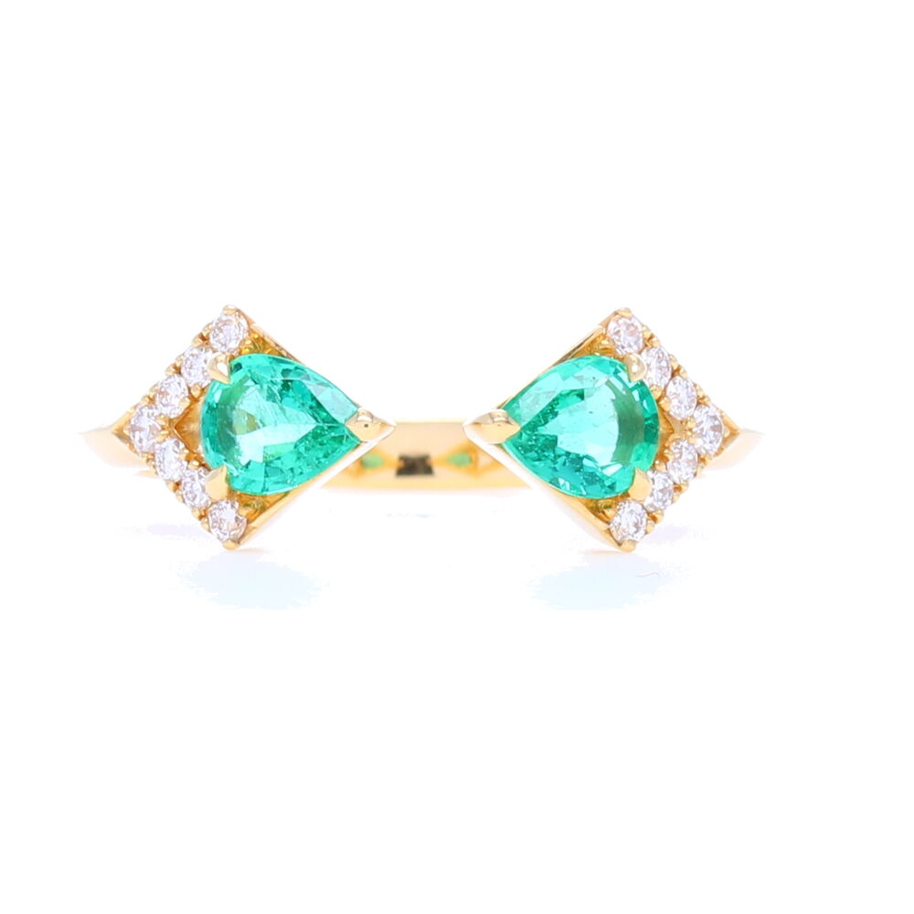 Rival Zambian Emerald Two Stone Ring with Diamonds