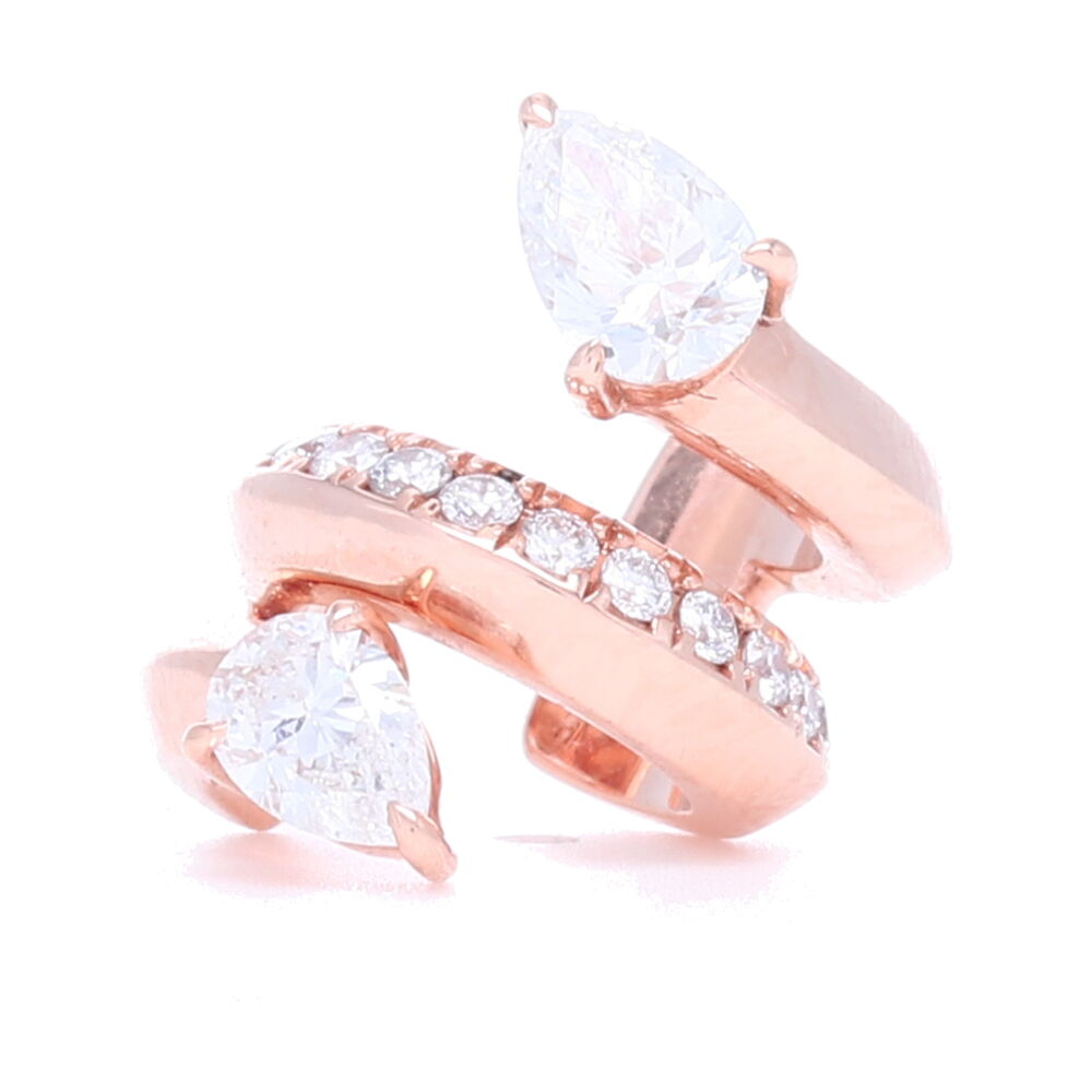 18k Rose Gold Ear Cuff with Pear Shaped Diamonds