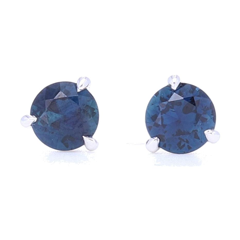 3 Prong Set Blue Sapphire Studs