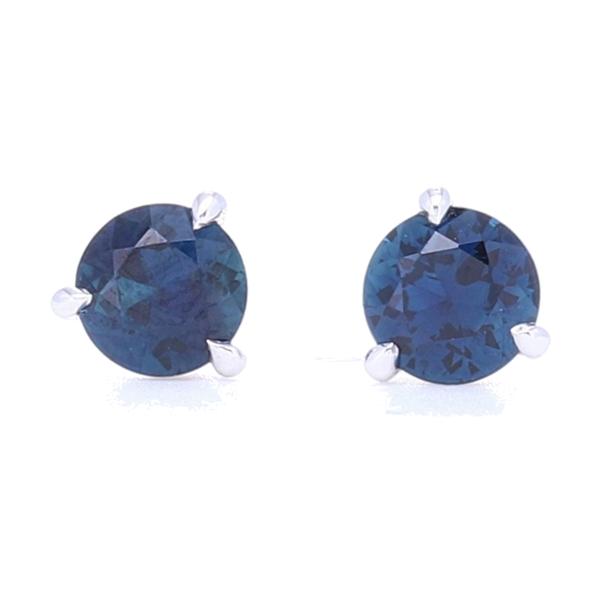 Closeup photo of 3 Prong Set Blue Sapphire Studs
