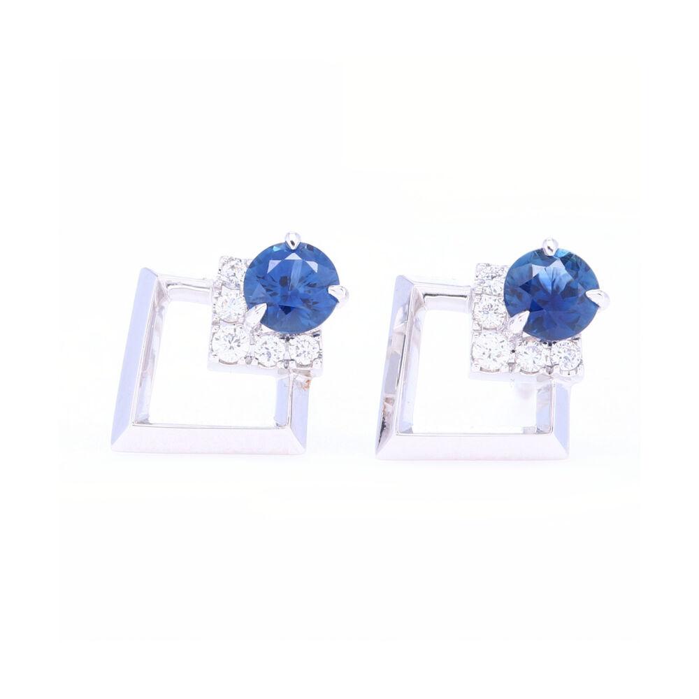 Contemporary Diamond and Blue Sapphire Studs