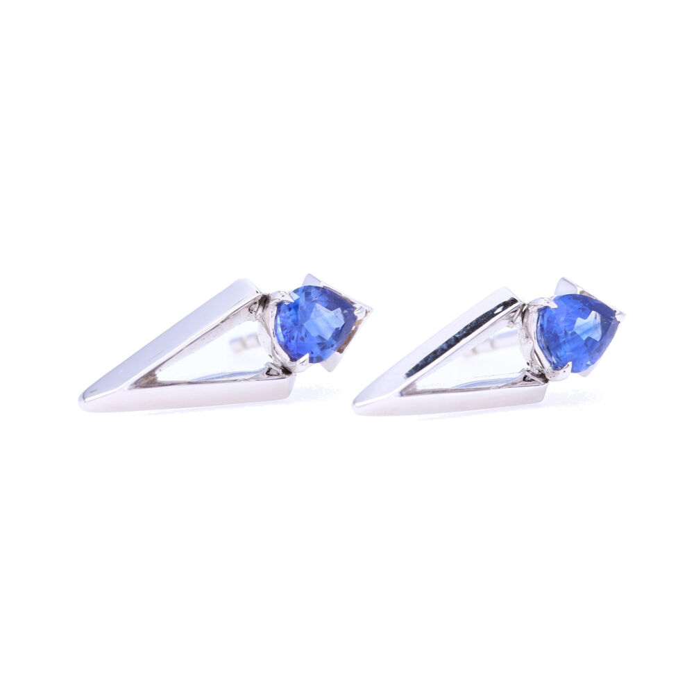 Pear Cut Blue Sapphire Abstract Studs
