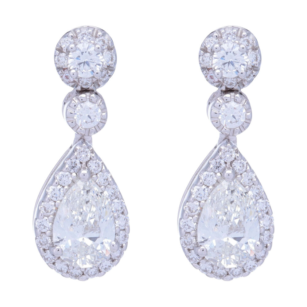 Pear Shaped Halo Diamond Dangle Earrings