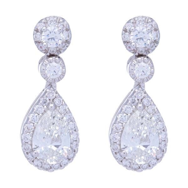 Closeup photo of Pear Shaped Halo Diamond Dangle Earrings