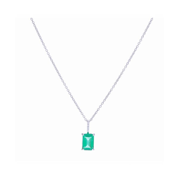 Closeup photo of Emerald Cut Zambian Emerald Pendant Necklace