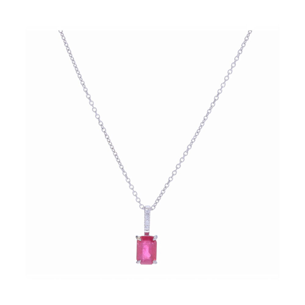 Emerald Cut Ruby Pendant Necklace