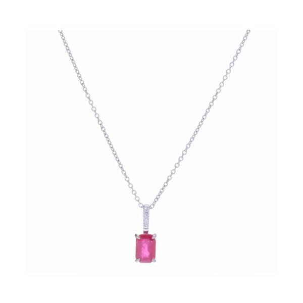 Closeup photo of Emerald Cut Ruby Pendant Necklace