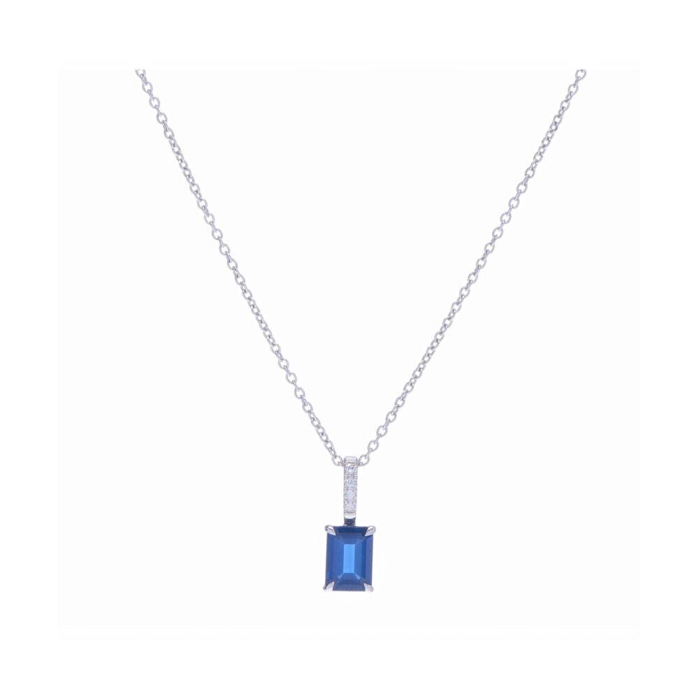 Emerald Cut Blue Sapphire Pendant Necklace