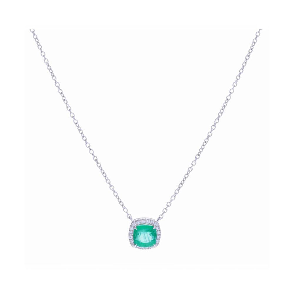 Halo Set Cushion Zambian Emerald Pendant Necklace